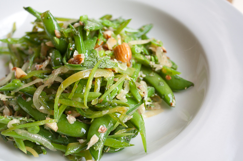 Sugar Snap Pea Salad with Mint, Almonds, and Caramelized Onions